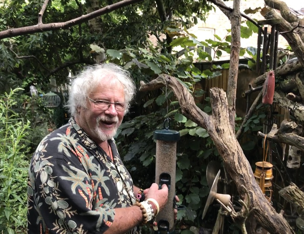 Bill Oddie with birdfeeder (Hannah Stephenson/PA)