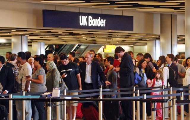 Queues at Border Control in Terminal Five of London's Heathrow Airport