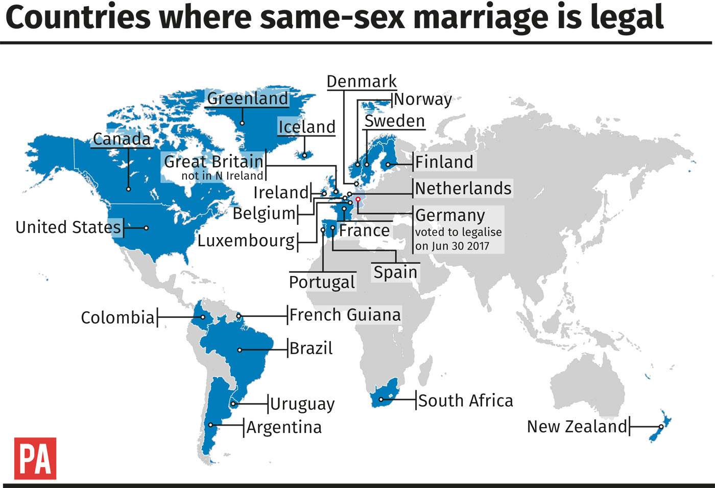 Countries that recognize same-sex marriage