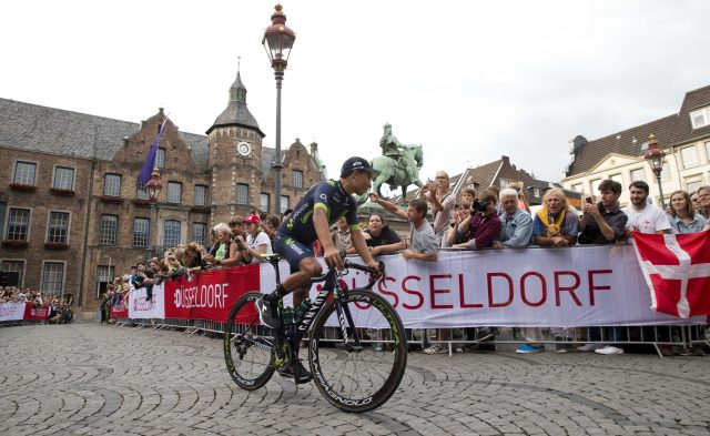 Nairo Quintana rides during the team presentation