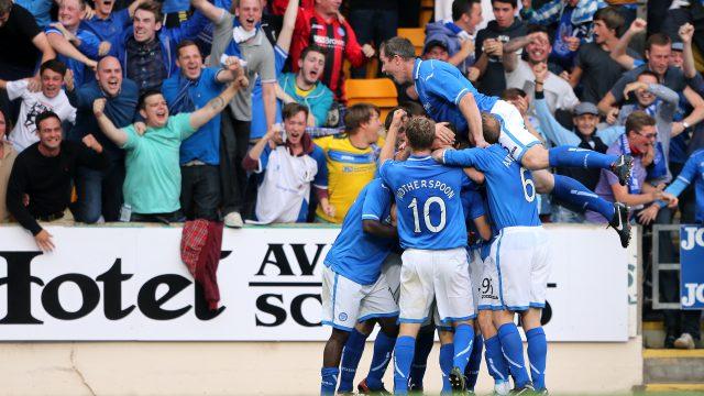 Stevie May celebrates his goal against Rosenborg in July 2013