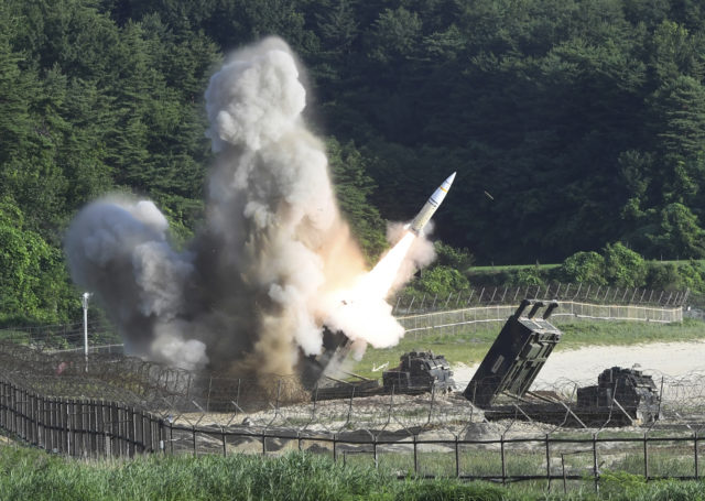 A missile fired by the joint US and South Korea military exercise (AP)