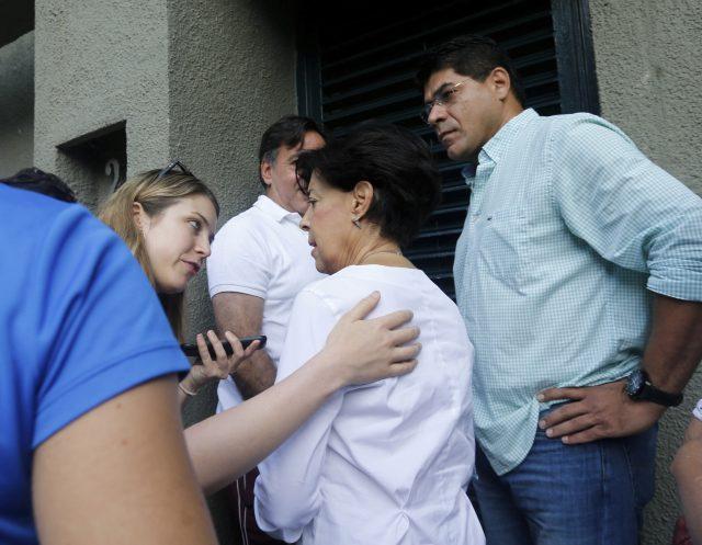 Antonieta Mendoza, the mother of Leopoldo Lopez, speaks to the media. (AP)