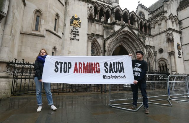 Campaigners outside the High Court