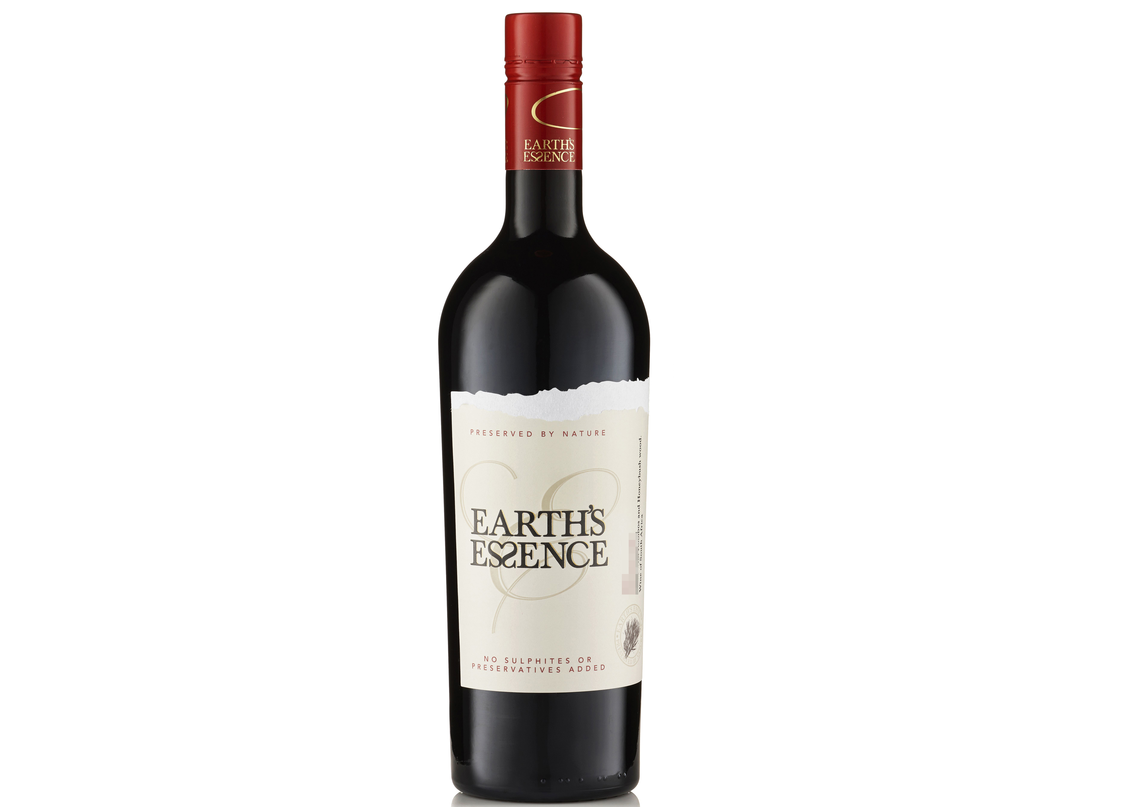 Bottle of Earth's Essence pinotage, South Africa, red wines
