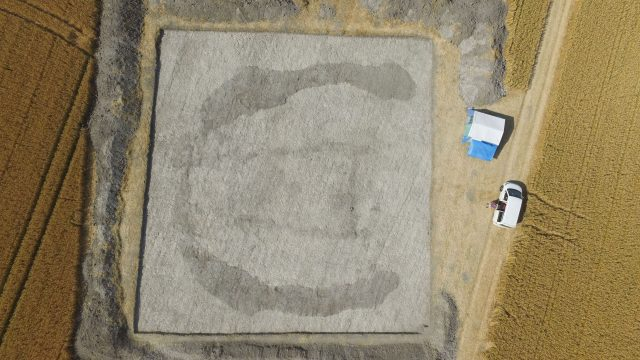 An aerial view of the site being excavated near Stonehenge