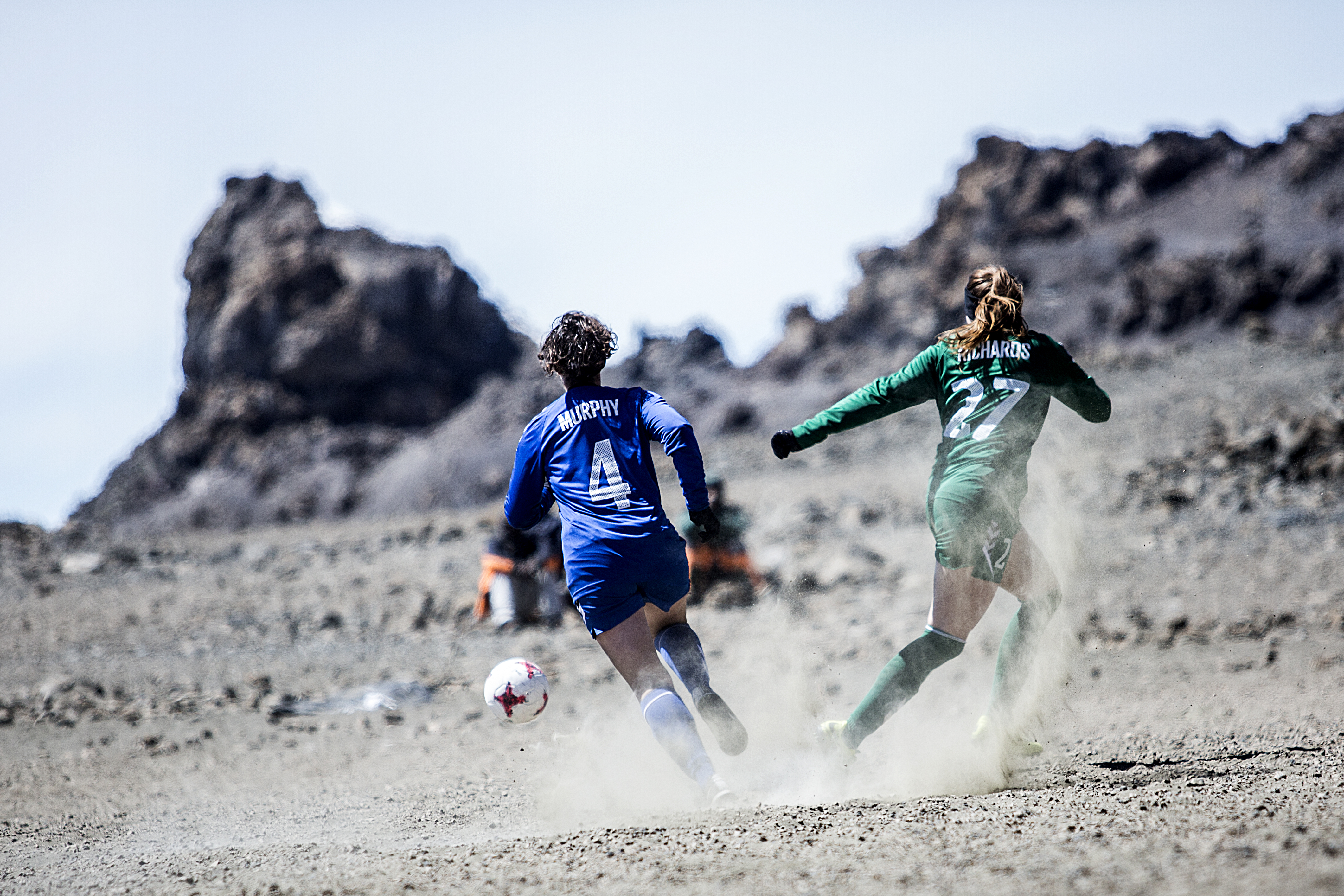 Two players during Equal Playing Field's Kilimanjaro football match (Dana Roesiger/EPF/PA)