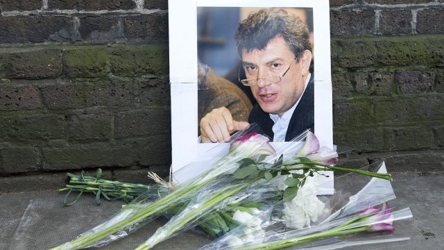Tributes for Boris Nemtsov were left outside the Russian Embassy in London