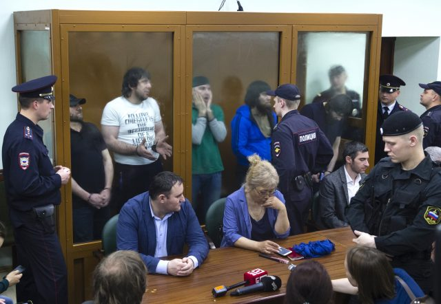 The scene in the courtroom in Moscow as the sentences were delivered (Ivan Sekretarev/AP)