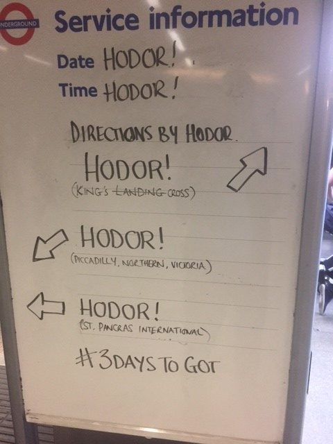 Game of Thrones message board on the tube