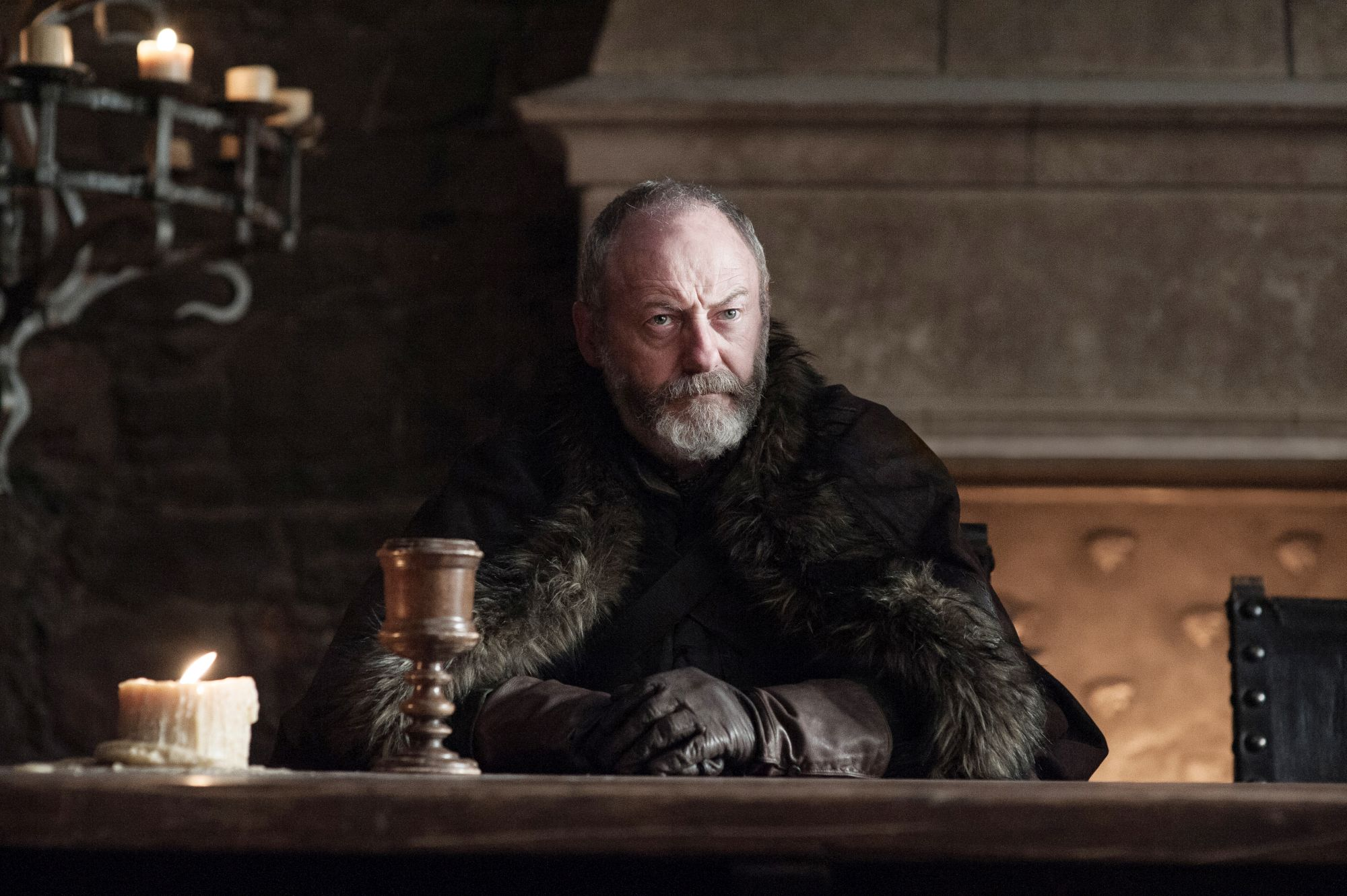 Davos Seaworth with a goblet of mead (Helen Sloan/HBO)