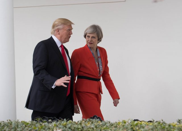 Theresa May with Donald Trump outside the White House