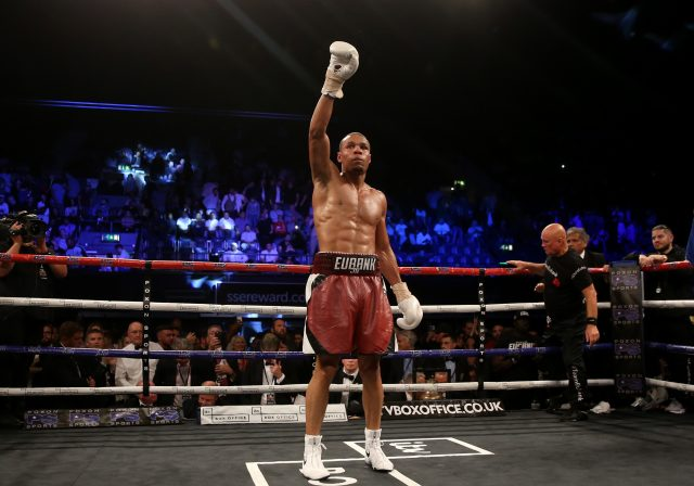 Chris Eubank Jr celebrates beating Arthur Abraham