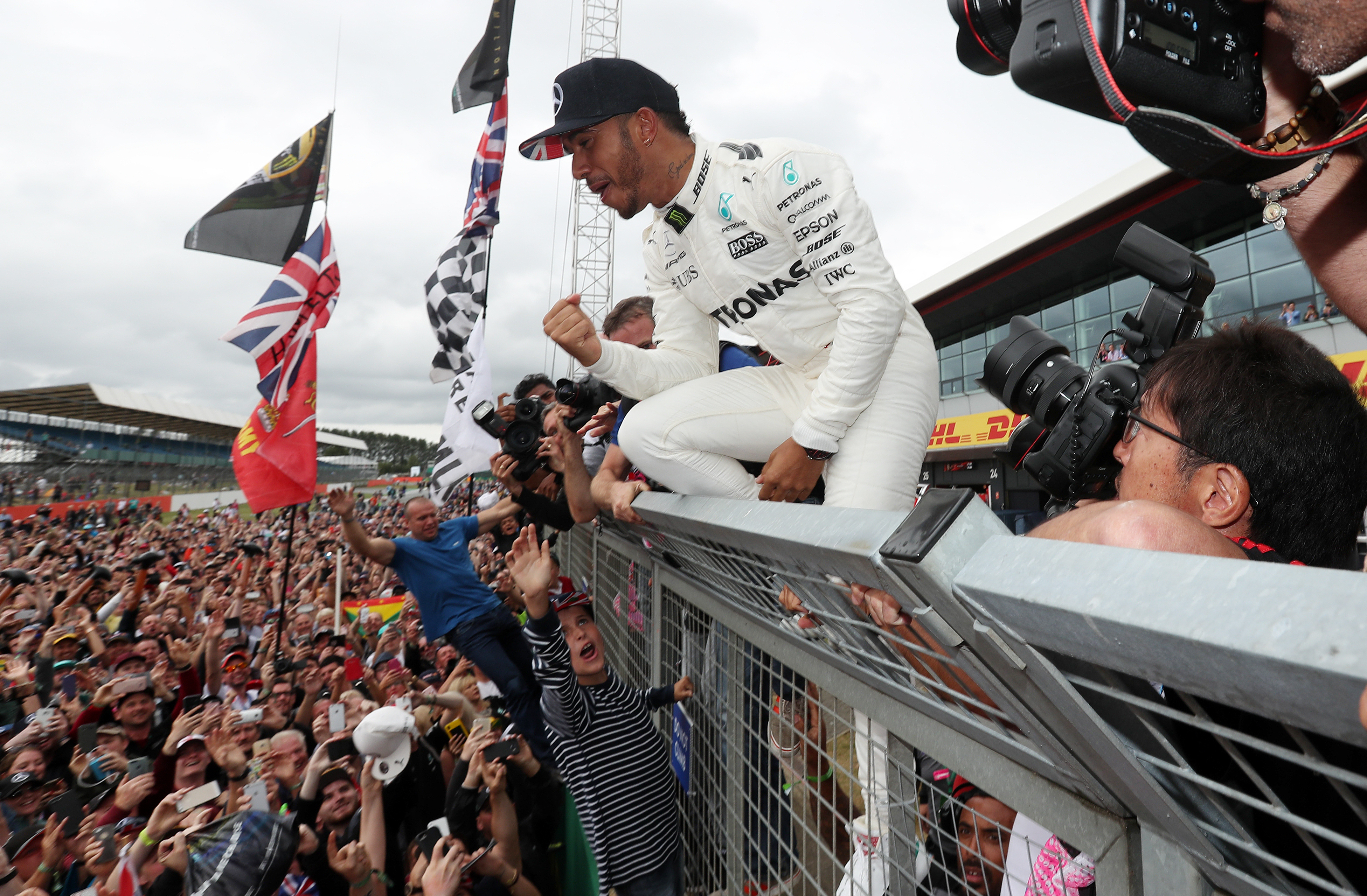 Mercedes Lewis Hamilton celebrates his victory during the 2017 British Grand Prix at Silverstone Circuit, Towcester.