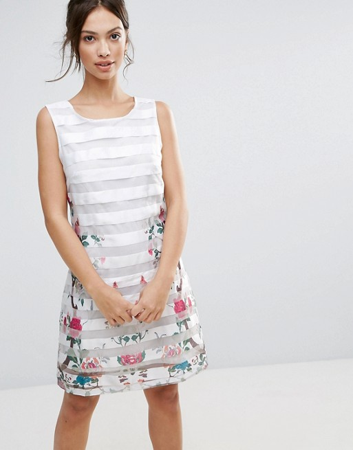 Amy Lynn Mesh Striped Shift Dress With Floral Panel