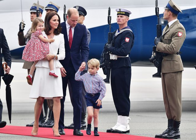 The Duke and Duchess of Cambridge arrive at Warsaw's Chopin Airport with Prince George and Princess Charlotte