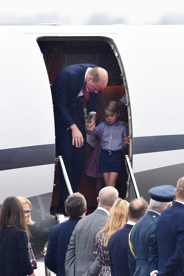 The Duke and Duchess of Cambridge arrive at Warsaw's Chopin Airport