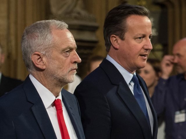 David Cameron with Jeremy Corbyn (Stefan Rousseau/PA)