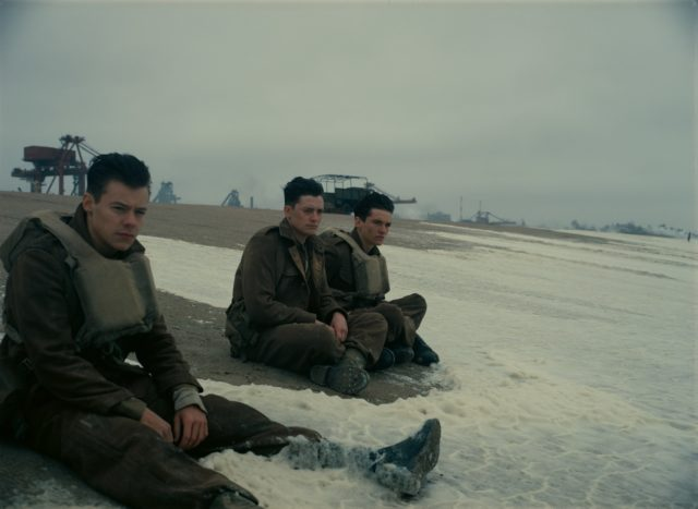 (L-R) Harry Styles as Alex, Aneurin Barnard as Gibson and Fionn Whitehead as Tommy in Dunkirk