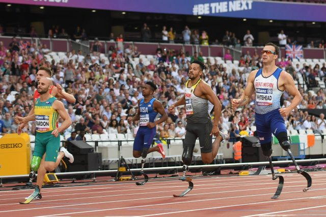 Richard Whitehead finishes third in the Men's 100m T42 final