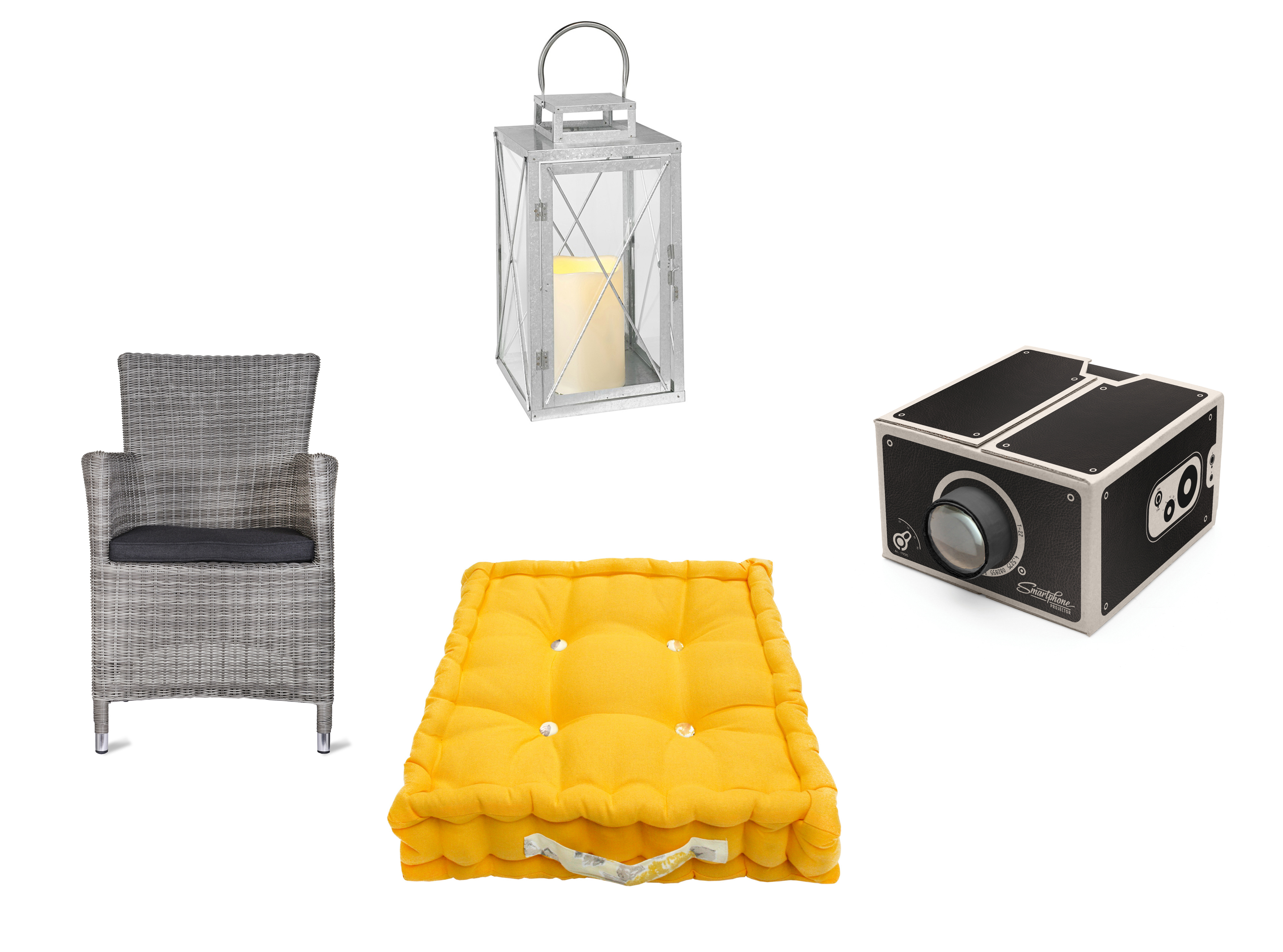 Film finds: (Clockwise from left) Driffield All-weather Rattan Chair, £170, Garden Trading; St Austell Battery Outdoor Lantern, £29.99, Lights4Fun; Smartphone Projector, £15.99, Prezzybox; Jacky Golden Yellow Garden Floor Cushion, £35, Ragged Rose (Garden Trading/Lights4Fun/Prezzybox/Ragged Rose/PA)
