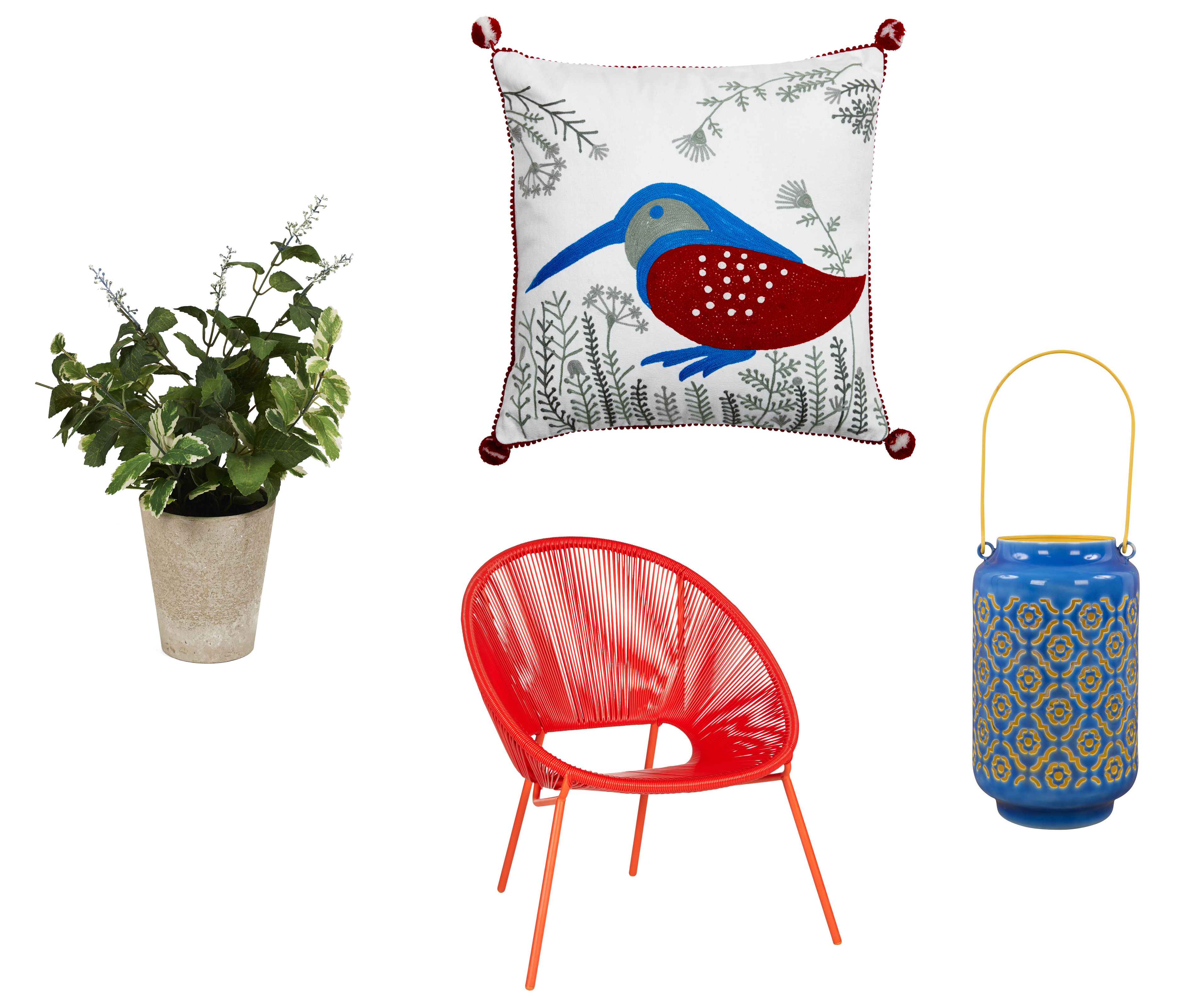 Balcony buys: (Clockwise from left) Faux Culpepper Flowering Herb, £16, Neptune; Kingfisher Cushion, £36.95, Pignut; Enamelled Ethnic Lantern, blue, £52, Out There Interiors, and House by John Lewis Salsa Garden Chair in Chilli, £120 for set of two (Neptune/Pignut/Out There Interiors/John Lewis/PA)
