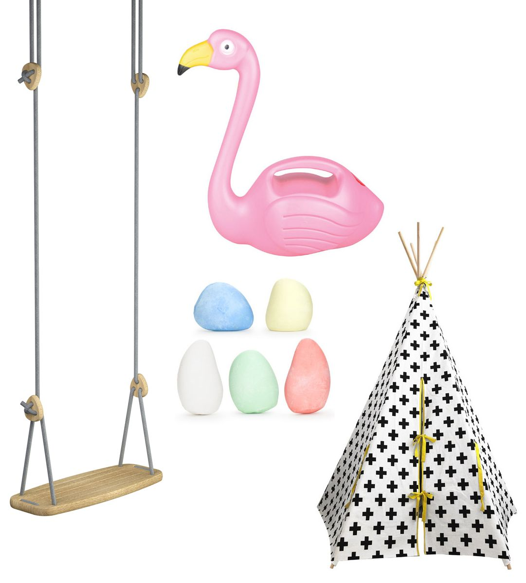 Child's Play: (Clockwise from left) Indoor/Outdoor Swing with Oak Seat and Grey Ropes, £139, Bobby Rabbit; Flamingo Watering Can, £7.99, Totally Funky; Kikkerland Chalk Pebble, £5 for set of five, Amazon; Wildfire Tepee, £135, The Modern Nursery (Bobby Flamingo/Totally Funky/Amazon/The Modern Nursery/PA)