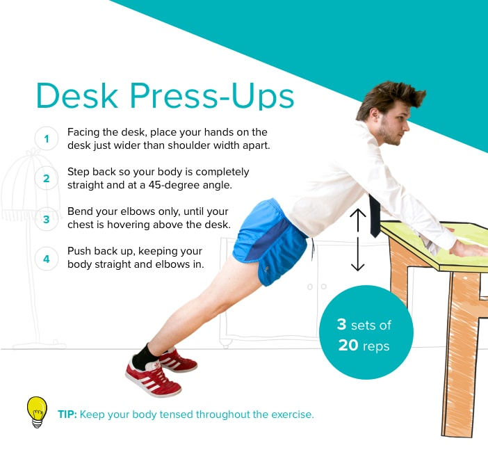 Desk Press-up graphic (CurrysPC World/Fitbit/PA)
