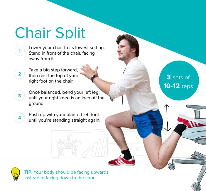 Chair split lunge graphic (CurrysPC World/Fitbit/PA)