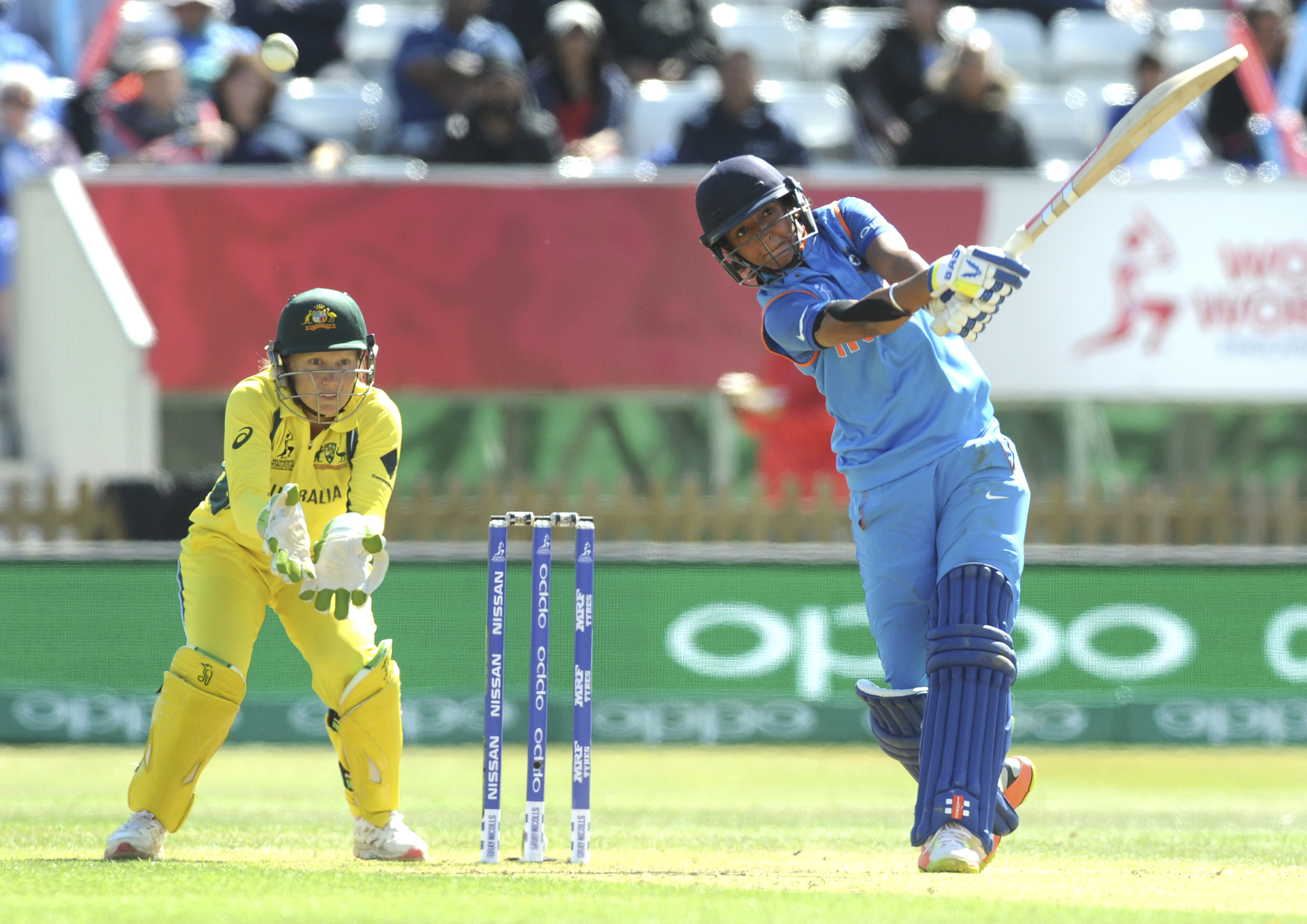 India's Harmanpreet Kaur plays against Australia