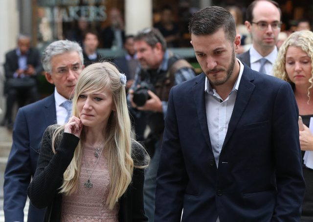 Charlie Gard's parents Chris Gard and Connie Yates arrive at the Royal Courts of Justice in London