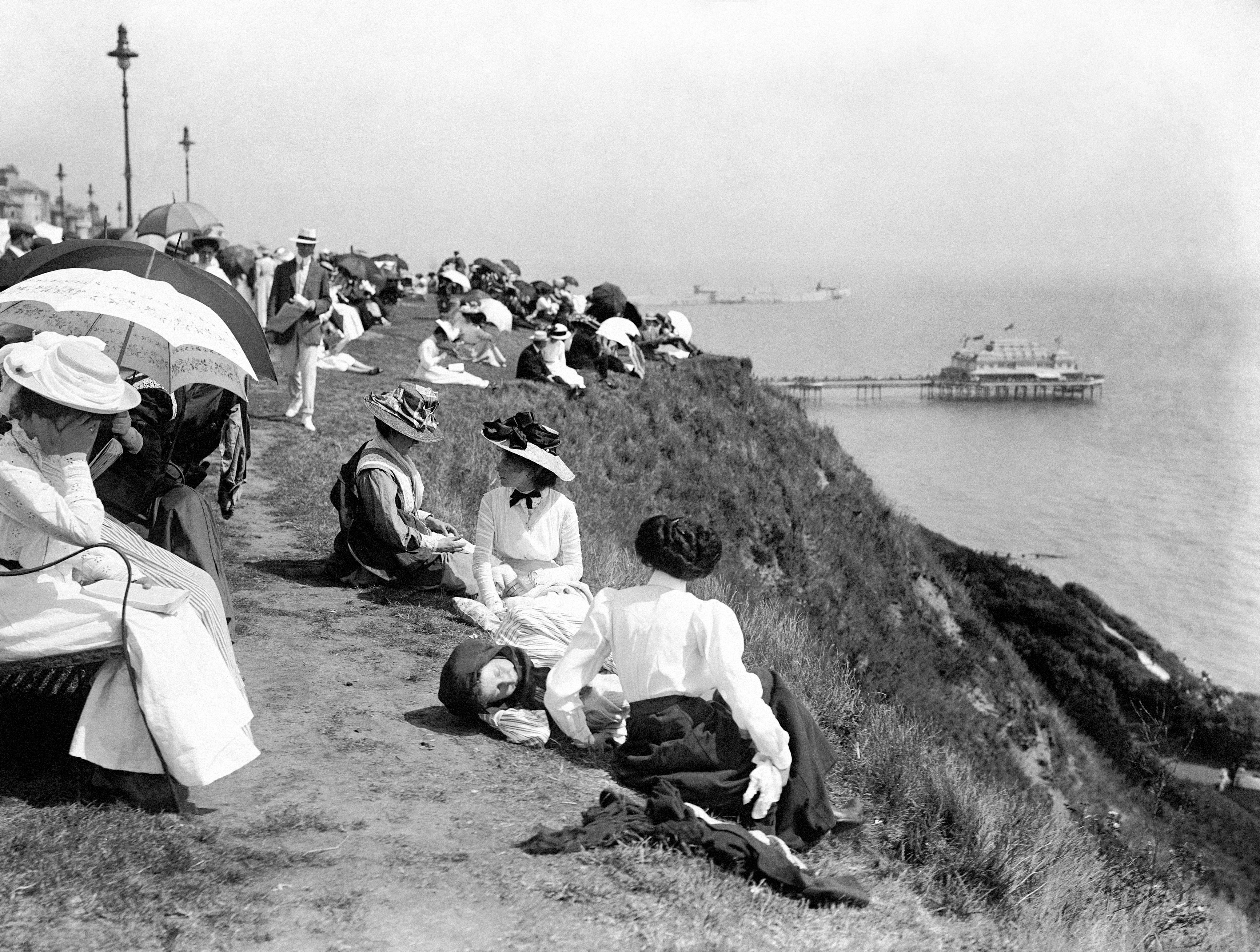 Edwardian sunbathers on the cliffs at Folkestone