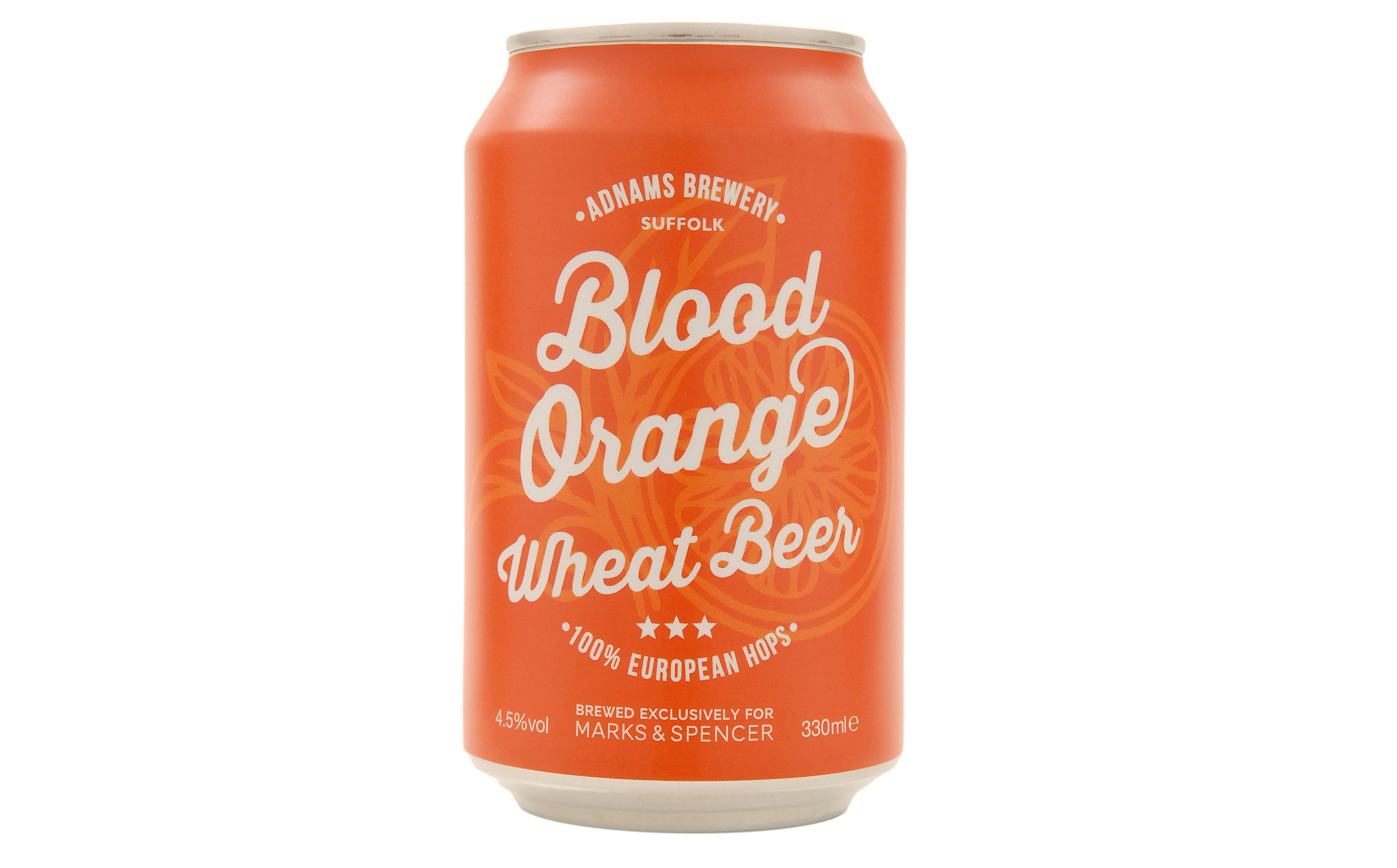A can of Marks & Spencer's Blood Orange Wheat Beer