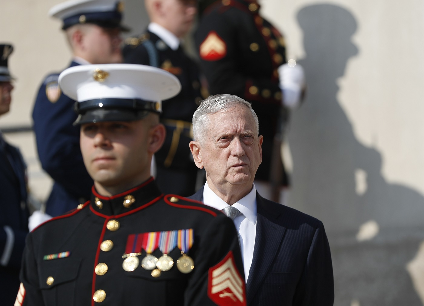 "FILE - In this July 10, 2017, file photo, Defense Secretary Jim Mattis waits before an honor cordon at the Pentagon. The Trump administration is still sorting out ""the big ideas"" for a new Afghanistan strategy, beyond troop levels and other military details, Defense Secretary Jim Mattis said Friday, July 21, 2017. (AP Photo/Pablo Martinez Monsivais, File)"