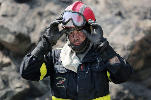 A firefighter takes a break