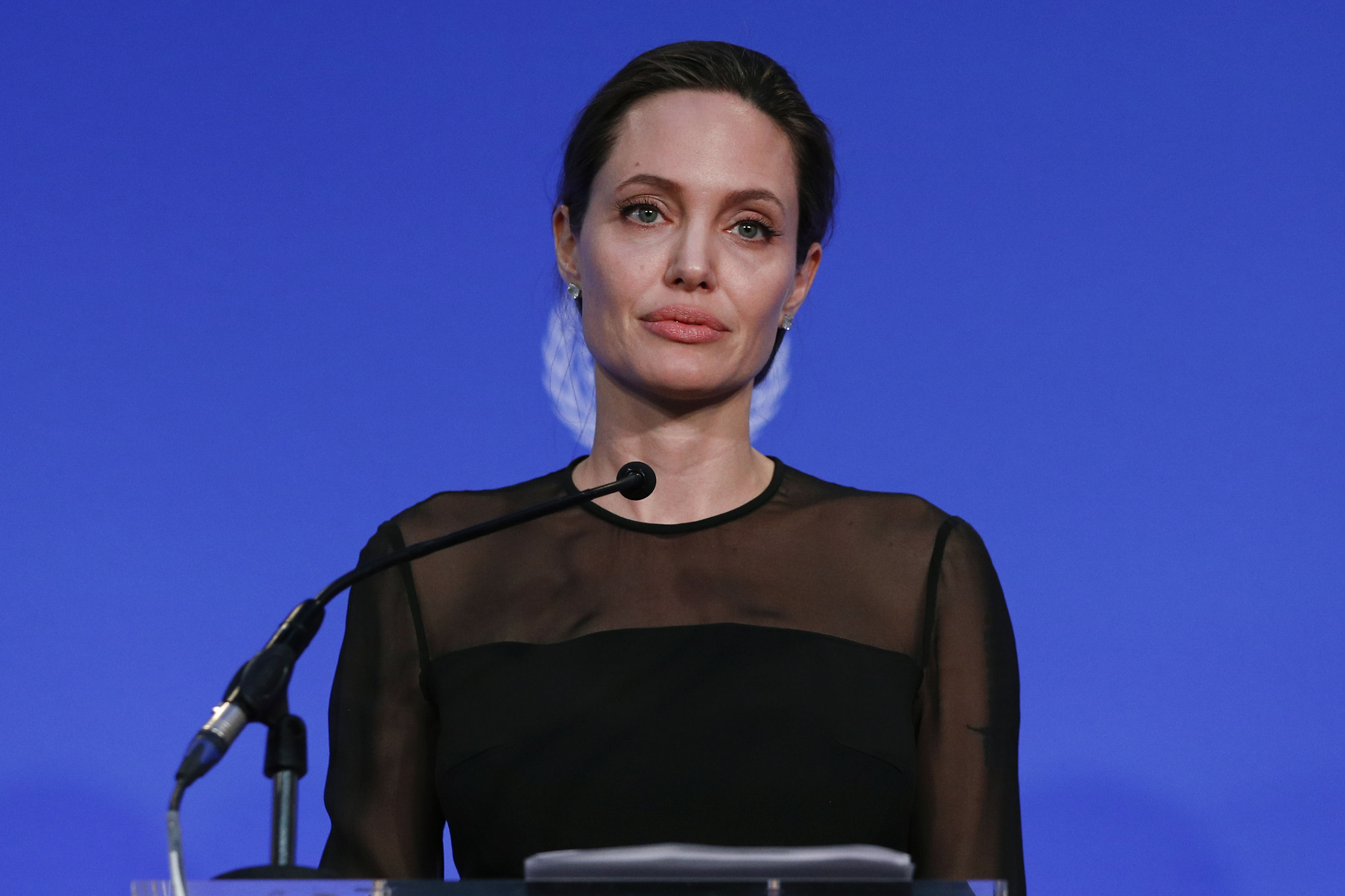 Angelina Jolie speaks during the UN Peacekeeping Defence Ministerial (Adrian Dennis/PA)