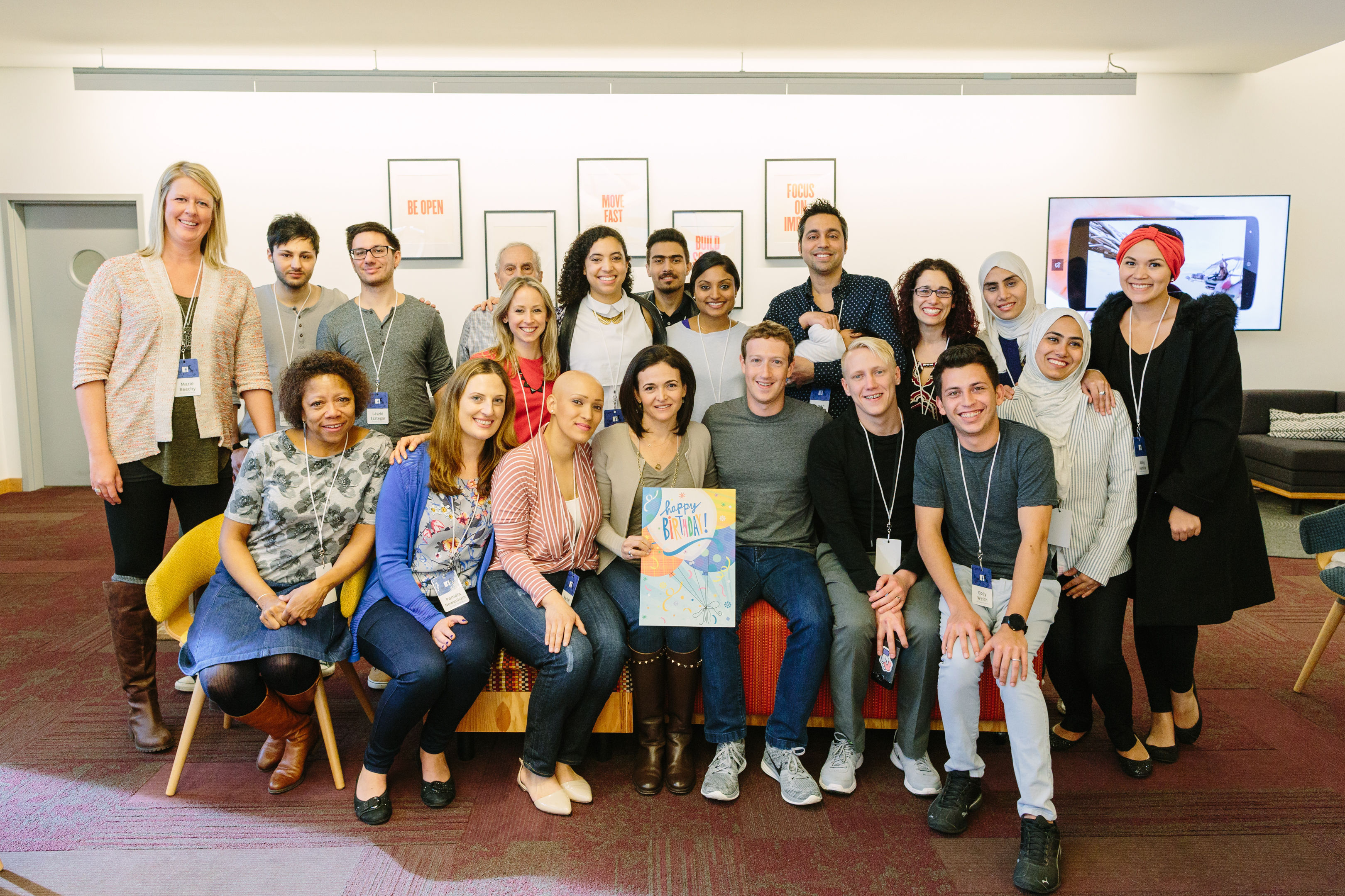 Sheryl Sandberg (centre front) with Facebook CEO Mark Zuckerberg and team.