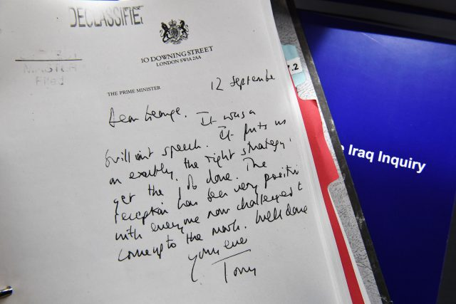 Detail of a declassified handwritten letter sent by Tony Blair to George Bush (PA)