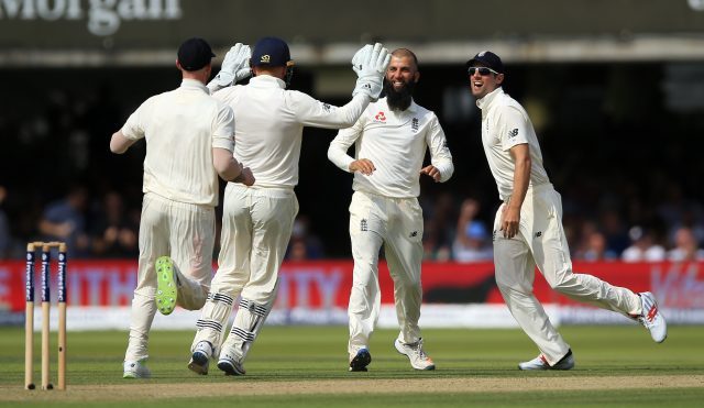 England's Moeen Ali celebrates the wicket of South Africa's Dean Elgar during day two of the First Investec Test match at Lord's, London.