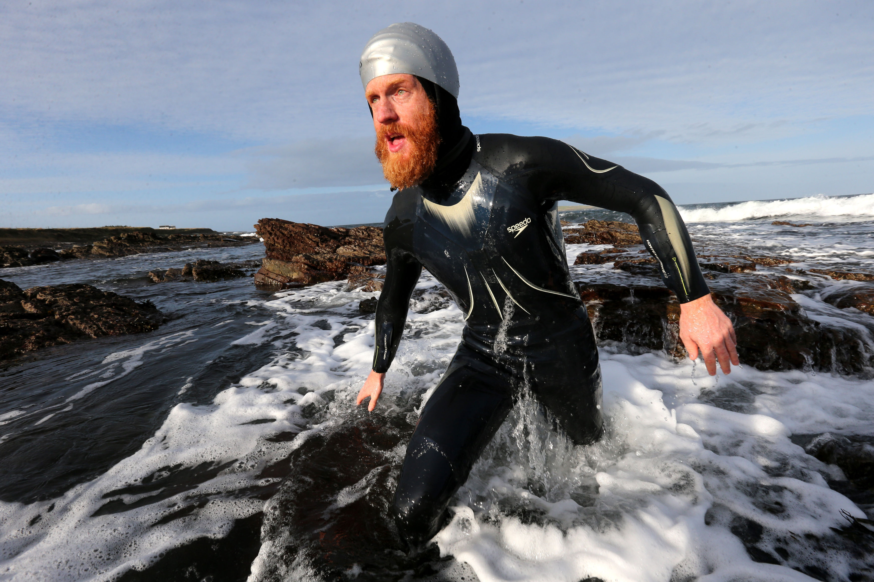 Charity swimmer Sean Conway arriving at John O'Groats