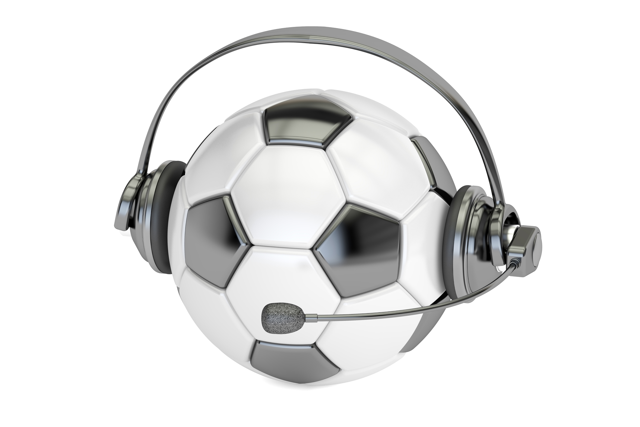 A football with a headset on