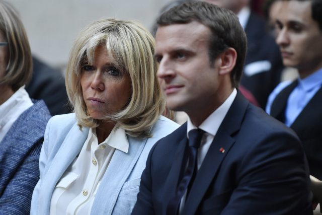 French First Lady Brigitte Macron is godmother. (AP)