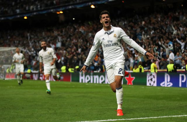 Alvaro Morata celebrates a goal for Real Madrid