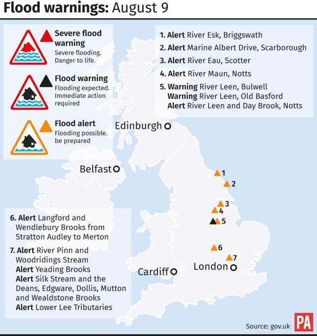Flood warnings: August 9.