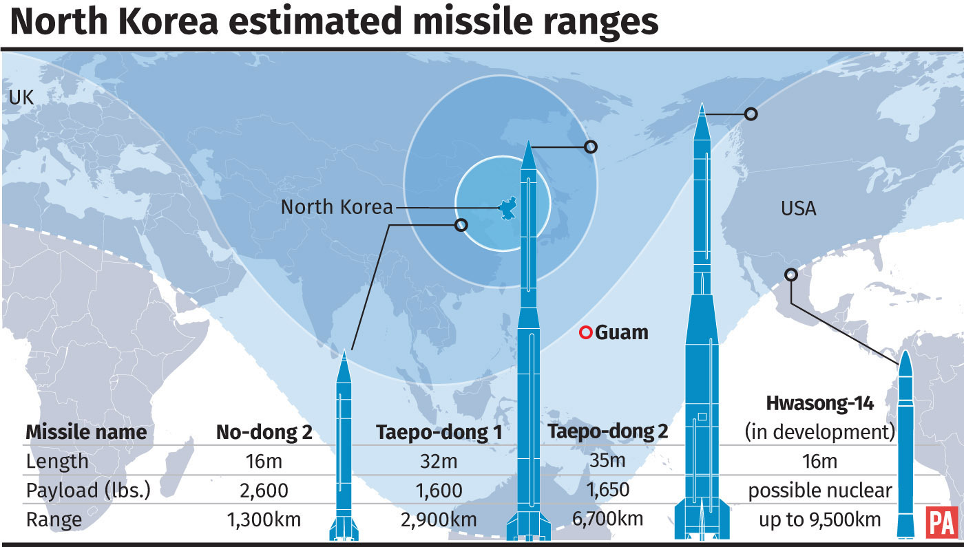 North Korea estimated missile ranges. See story US NorthKorea. Editable files from PA Graphics
