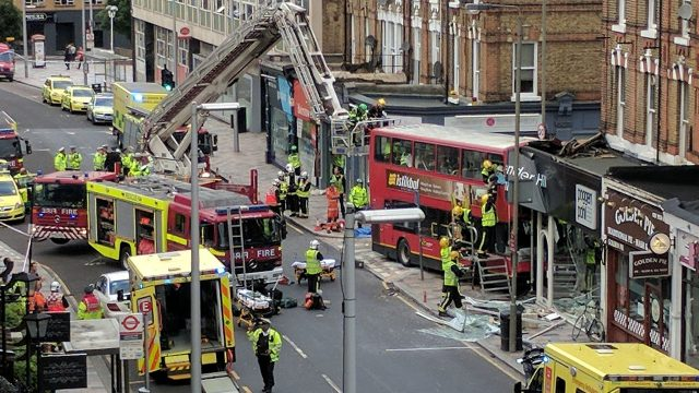The double-decker bus crashed into a shop in Lavender Hill