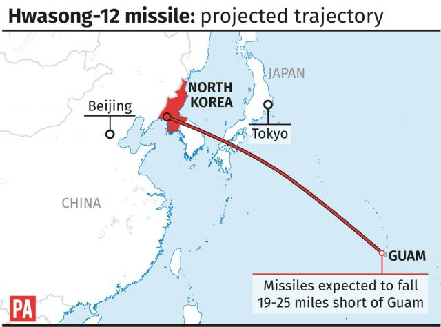 Projected trajectory of the Hwasong-12 missile