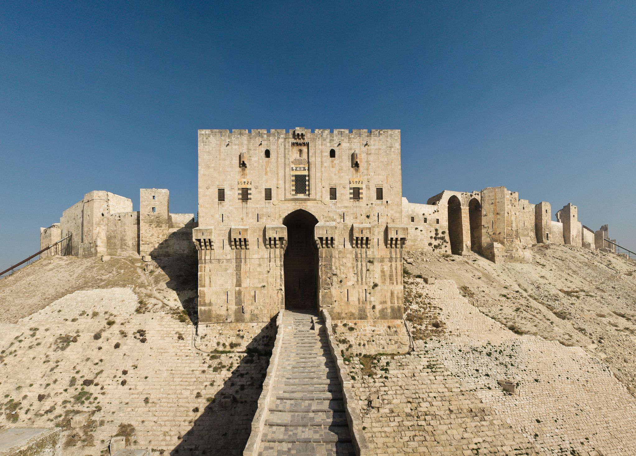 The inner gate of the Citadel in Aleppo before it was destroyed in the civil war (Thinkstock/PA)