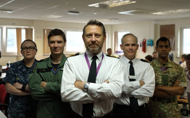 From left, CWO3 Jennifer Olson, US Navy, Wing Commander John Cockroft, RAF, Captain Andrew Stacey, RN, Commander Simon Chapman, RN, and Major Rik Karadia, RA.