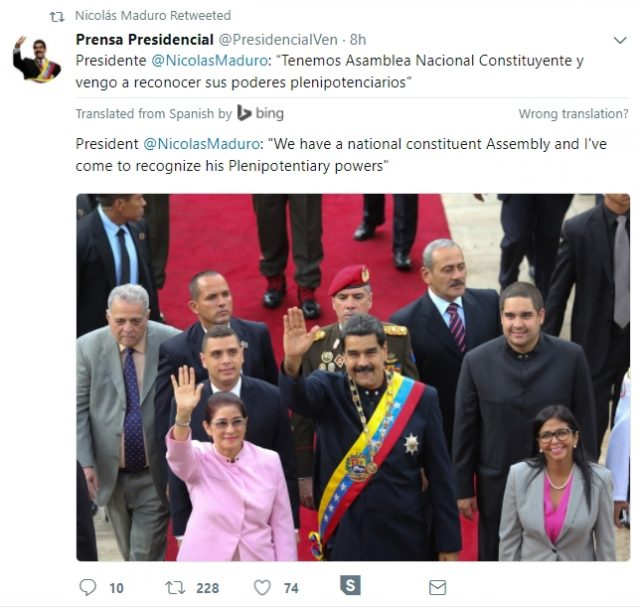 Mr Maduro tweeted before his address (Twitter/PA)